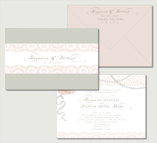 vintage glam invitation closed view